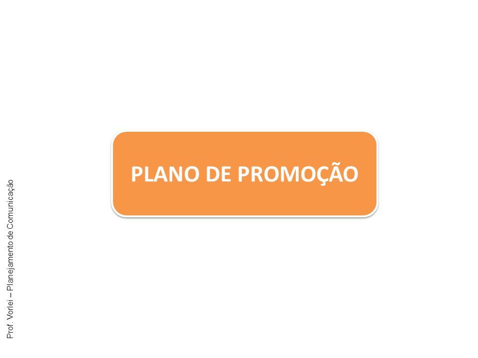 Prof. Vorlei – Planejamento de Comunicação PLANO DE PROMOÇÃO