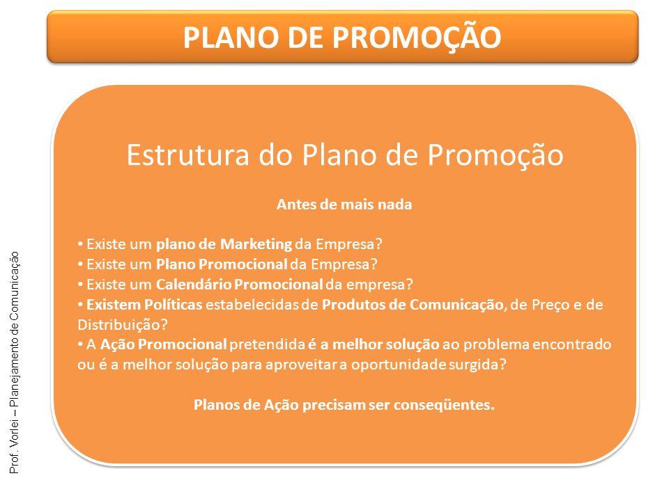 Prof. Vorlei – Planejamento de Comunicação PLANO DE PROMOÇÃO Estrutura do Plano de Promoção Antes de mais nada Existe um plano de Marketing da Empresa