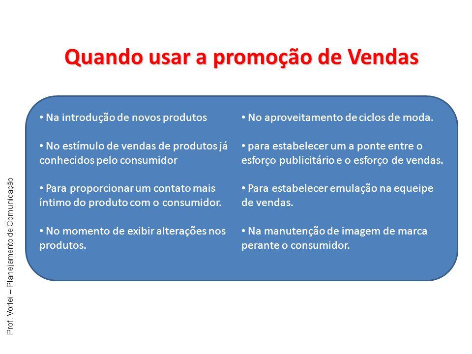 Prof. Vorlei – Planejamento de Comunicação Quando usar a promoção de Vendas Na introdução de novos produtos No estímulo de vendas de produtos já conhe