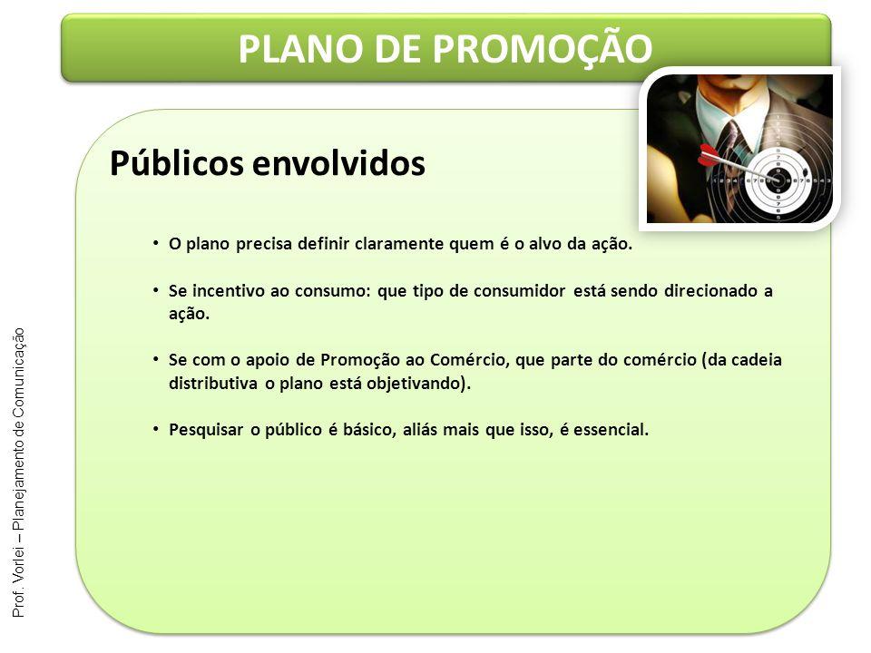 Prof. Vorlei – Planejamento de Comunicação PLANO DE PROMOÇÃO Públicos envolvidos O plano precisa definir claramente quem é o alvo da ação. Se incentiv