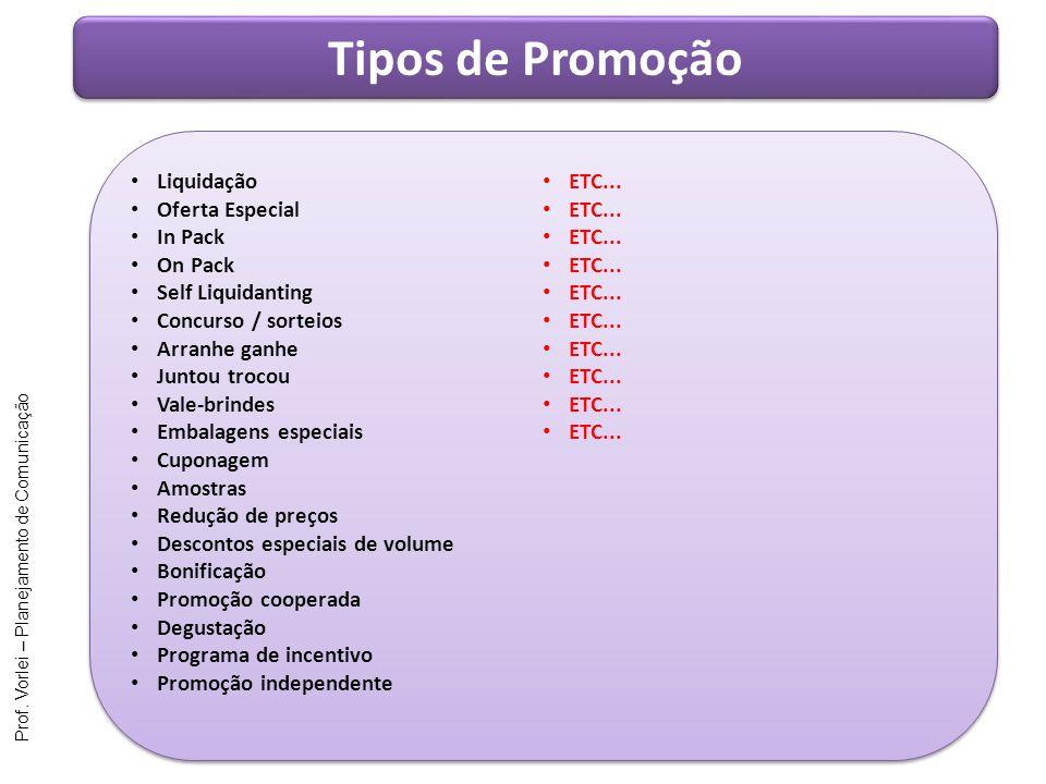 Prof. Vorlei – Planejamento de Comunicação Tipos de Promoção Liquidação Oferta Especial In Pack On Pack Self Liquidanting Concurso / sorteios Arranhe