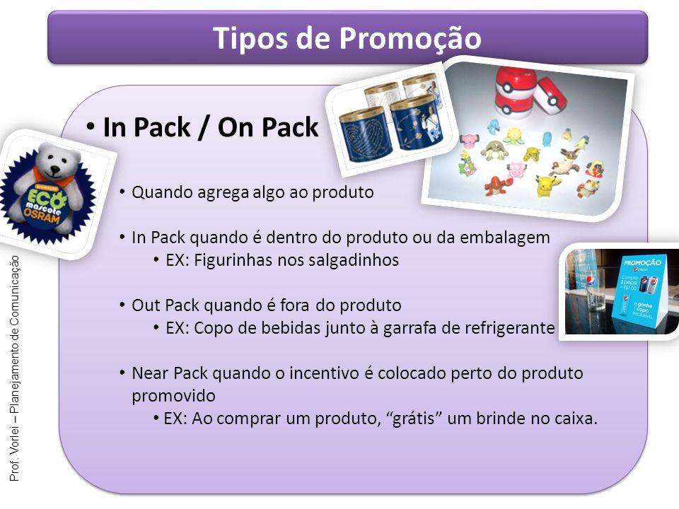 Prof. Vorlei – Planejamento de Comunicação Tipos de Promoção In Pack / On Pack Quando agrega algo ao produto In Pack quando é dentro do produto ou da