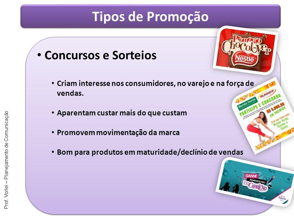 Prof. Vorlei – Planejamento de Comunicação Tipos de Promoção Concursos e Sorteios Criam interesse nos consumidores, no varejo e na força de vendas. Ap