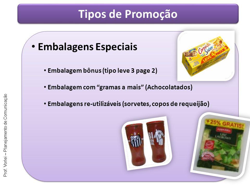 Prof. Vorlei – Planejamento de Comunicação Tipos de Promoção Embalagens Especiais Embalagem bônus (tipo leve 3 page 2) Embalagem com gramas a mais (Ac