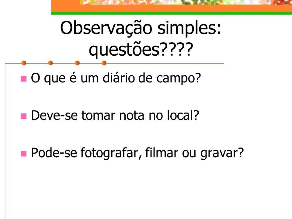 Observação simples: questões???? O que é um diário de campo? Deve-se tomar nota no local? Pode-se fotografar, filmar ou gravar?