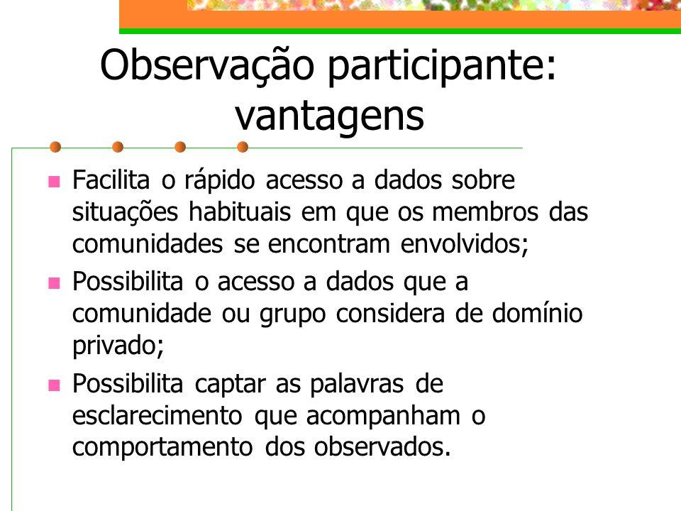 Observação participante: vantagens Facilita o rápido acesso a dados sobre situações habituais em que os membros das comunidades se encontram envolvido