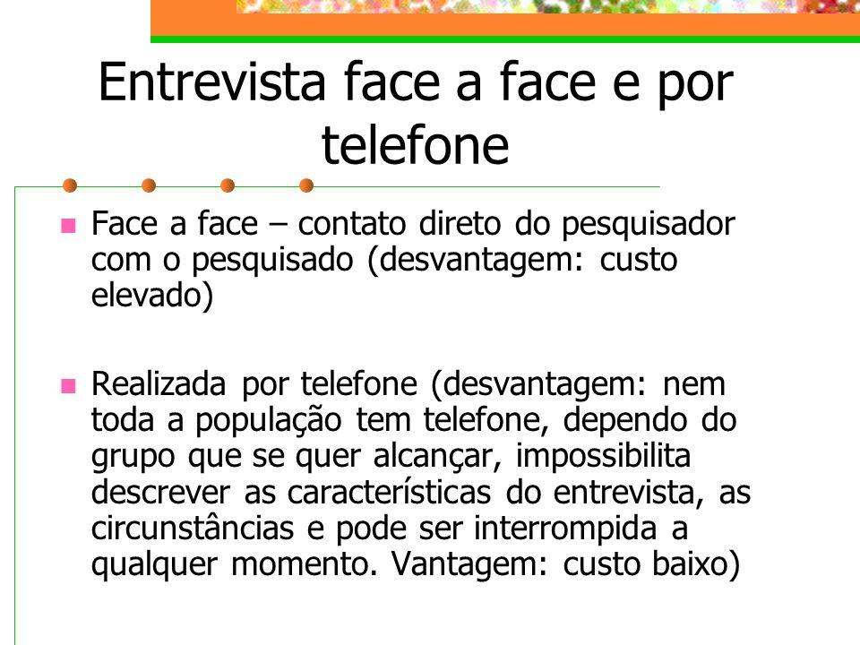 Entrevista face a face e por telefone Face a face – contato direto do pesquisador com o pesquisado (desvantagem: custo elevado) Realizada por telefone
