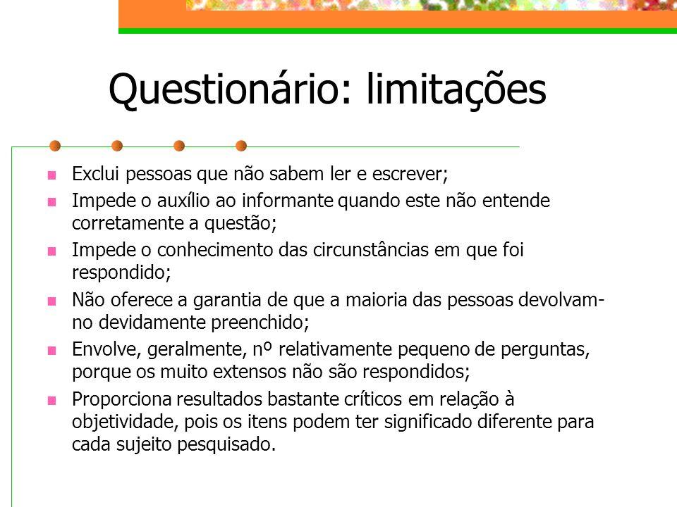 Questionário: limitações Exclui pessoas que não sabem ler e escrever; Impede o auxílio ao informante quando este não entende corretamente a questão; I