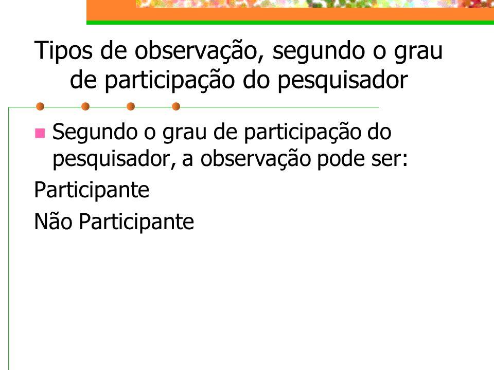 Tipos de observação, segundo o grau de participação do pesquisador Segundo o grau de participação do pesquisador, a observação pode ser: Participante