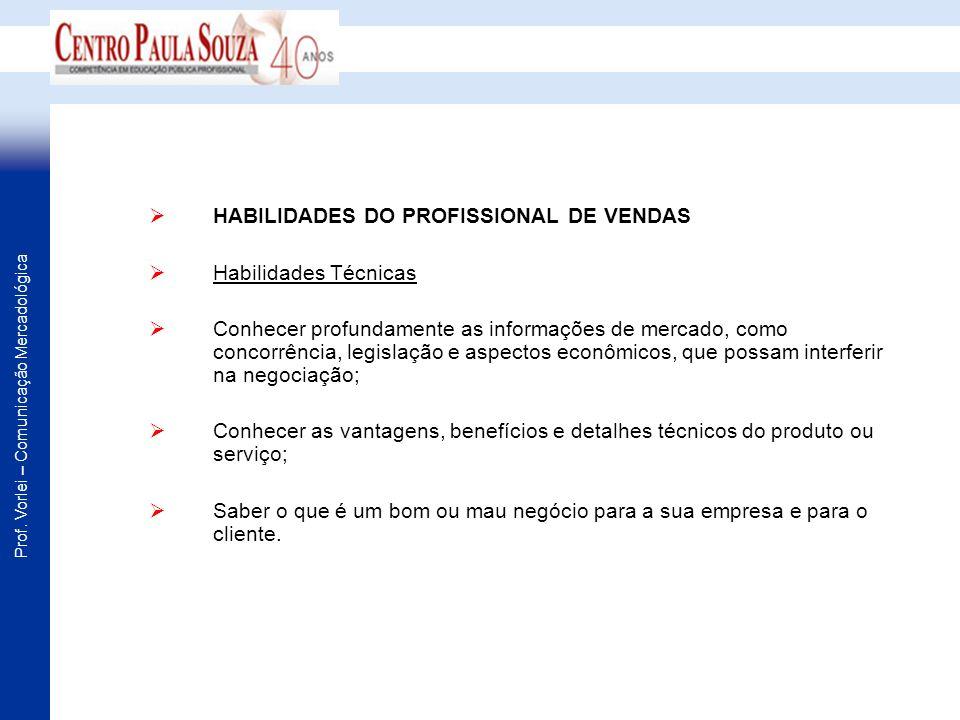 Prof. Vorlei – Comunicação Mercadológica HABILIDADES DO PROFISSIONAL DE VENDAS Habilidades Técnicas Conhecer profundamente as informações de mercado,