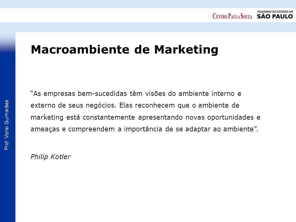 Prof. Vorlei Guimarães As empresas bem-sucedidas têm visões do ambiente interno e externo de seus negócios. Elas reconhecem que o ambiente de marketin