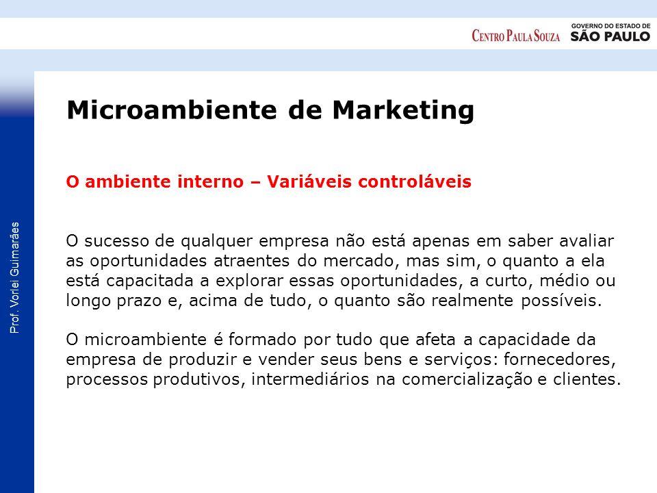 Prof. Vorlei Guimarães O ambiente interno – Variáveis controláveis O sucesso de qualquer empresa não está apenas em saber avaliar as oportunidades atr