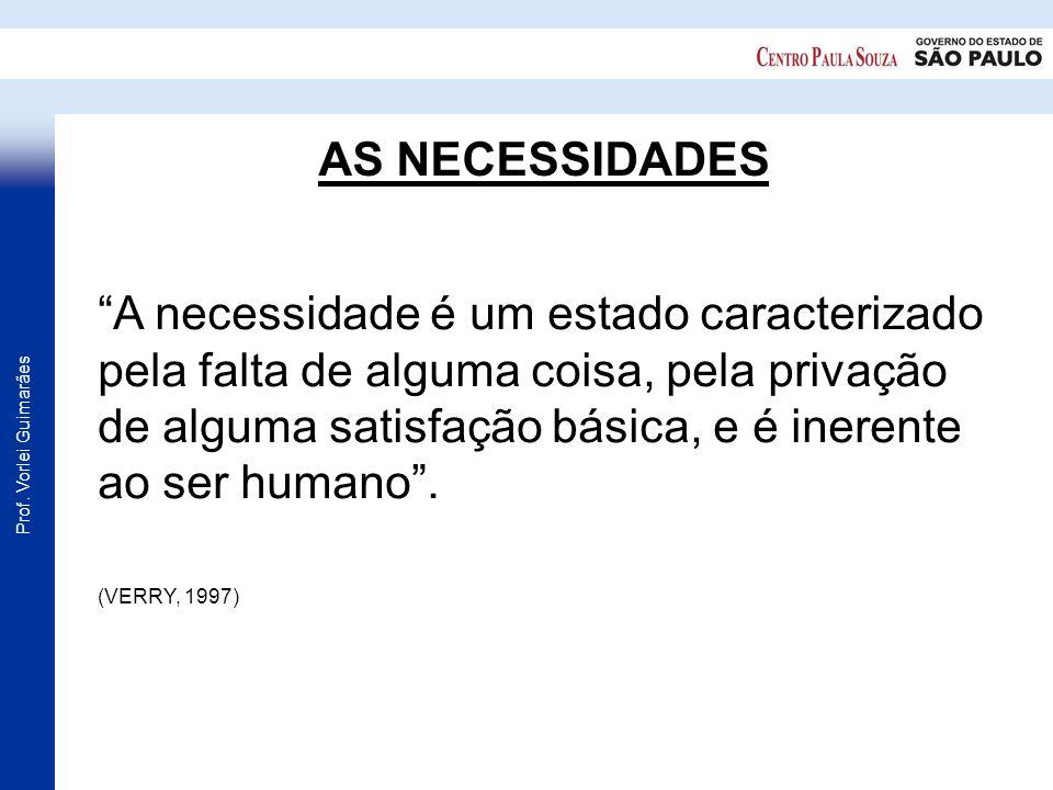 Prof. Vorlei Guimarães AS NECESSIDADES A necessidade é um estado caracterizado pela falta de alguma coisa, pela privação de alguma satisfação básica,