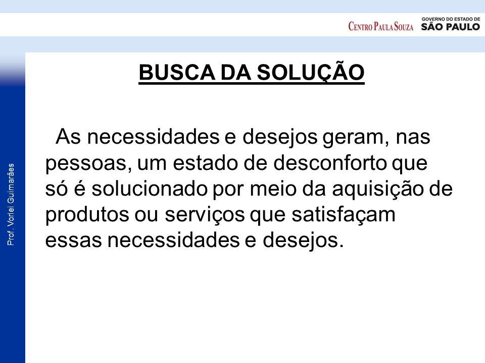 Prof. Vorlei Guimarães BUSCA DA SOLUÇÃO As necessidades e desejos geram, nas pessoas, um estado de desconforto que só é solucionado por meio da aquisi