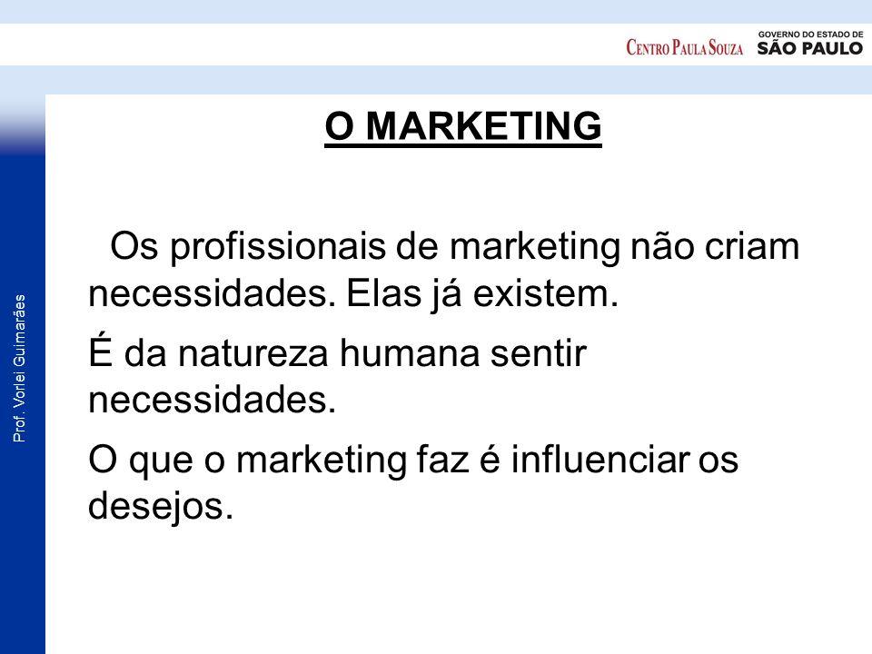Prof. Vorlei Guimarães O MARKETING Os profissionais de marketing não criam necessidades. Elas já existem. É da natureza humana sentir necessidades. O