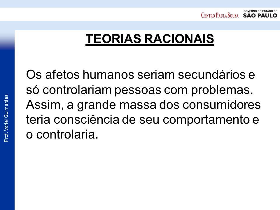 Prof. Vorlei Guimarães TEORIAS RACIONAIS Os afetos humanos seriam secundários e só controlariam pessoas com problemas. Assim, a grande massa dos consu