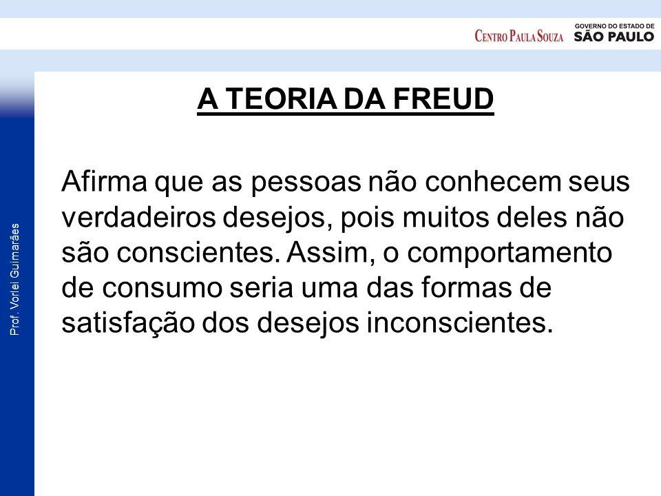 Prof. Vorlei Guimarães A TEORIA DA FREUD Afirma que as pessoas não conhecem seus verdadeiros desejos, pois muitos deles não são conscientes. Assim, o