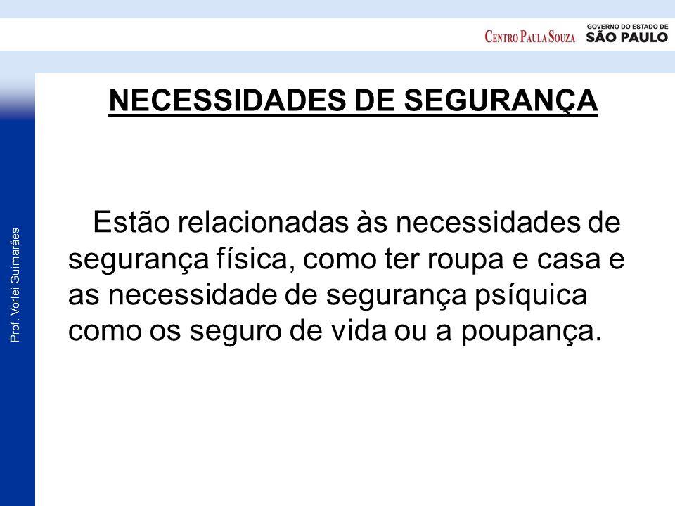 Prof. Vorlei Guimarães NECESSIDADES DE SEGURANÇA Estão relacionadas às necessidades de segurança física, como ter roupa e casa e as necessidade de seg