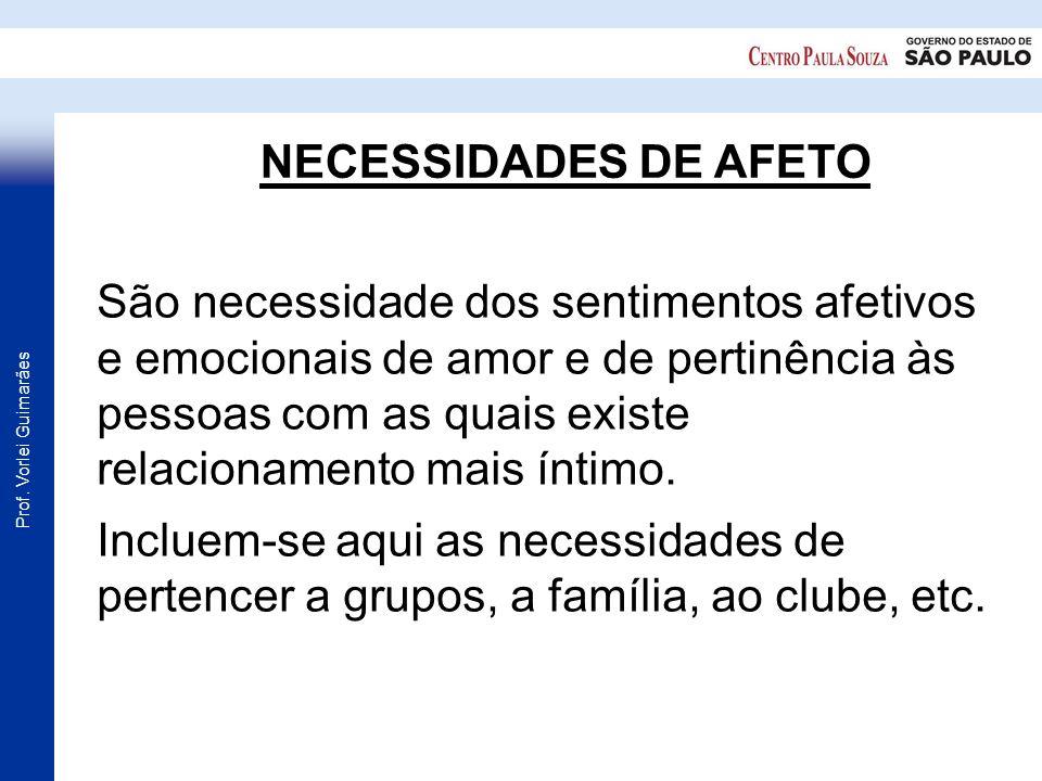 Prof. Vorlei Guimarães NECESSIDADES DE AFETO São necessidade dos sentimentos afetivos e emocionais de amor e de pertinência às pessoas com as quais ex