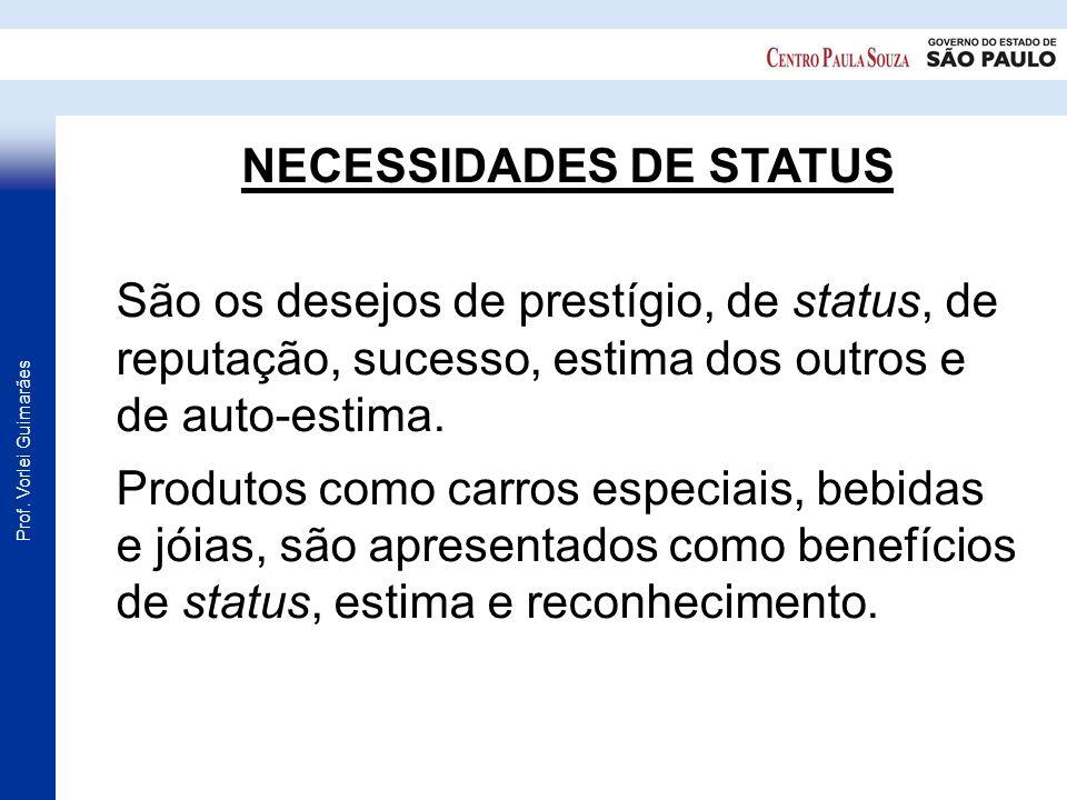 Prof. Vorlei Guimarães NECESSIDADES DE STATUS São os desejos de prestígio, de status, de reputação, sucesso, estima dos outros e de auto-estima. Produ