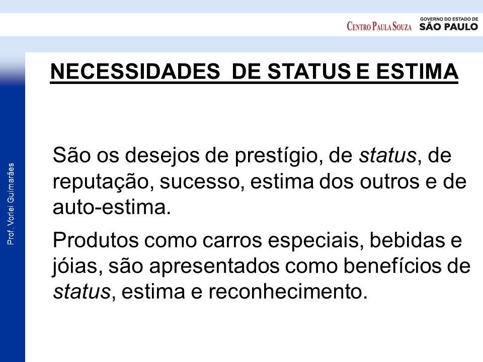 Prof. Vorlei Guimarães NECESSIDADES DE STATUS E ESTIMA São os desejos de prestígio, de status, de reputação, sucesso, estima dos outros e de auto-esti