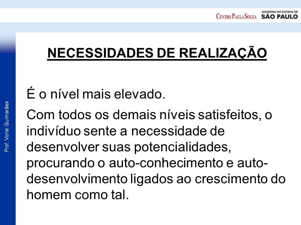 Prof. Vorlei Guimarães NECESSIDADES DE REALIZAÇÃO É o nível mais elevado. Com todos os demais níveis satisfeitos, o indivíduo sente a necessidade de d