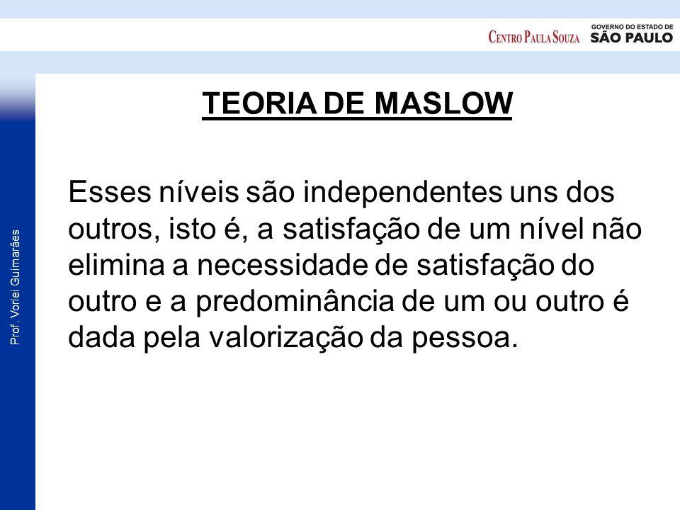 Prof. Vorlei Guimarães TEORIA DE MASLOW Esses níveis são independentes uns dos outros, isto é, a satisfação de um nível não elimina a necessidade de s