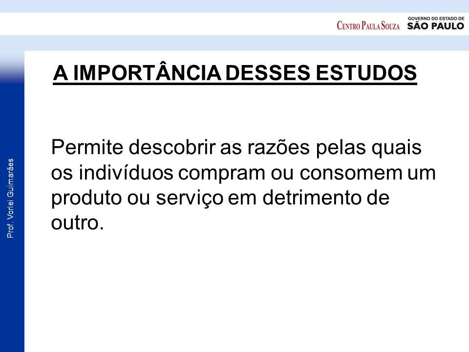 Prof. Vorlei Guimarães A IMPORTÂNCIA DESSES ESTUDOS Permite descobrir as razões pelas quais os indivíduos compram ou consomem um produto ou serviço em