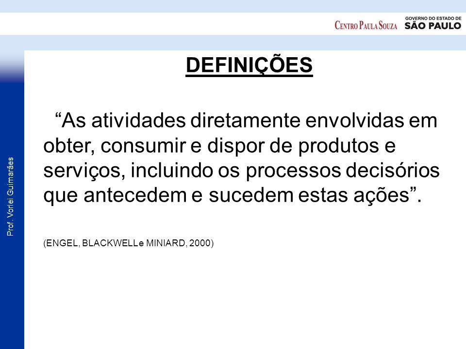 Prof. Vorlei Guimarães DEFINIÇÕES As atividades diretamente envolvidas em obter, consumir e dispor de produtos e serviços, incluindo os processos deci