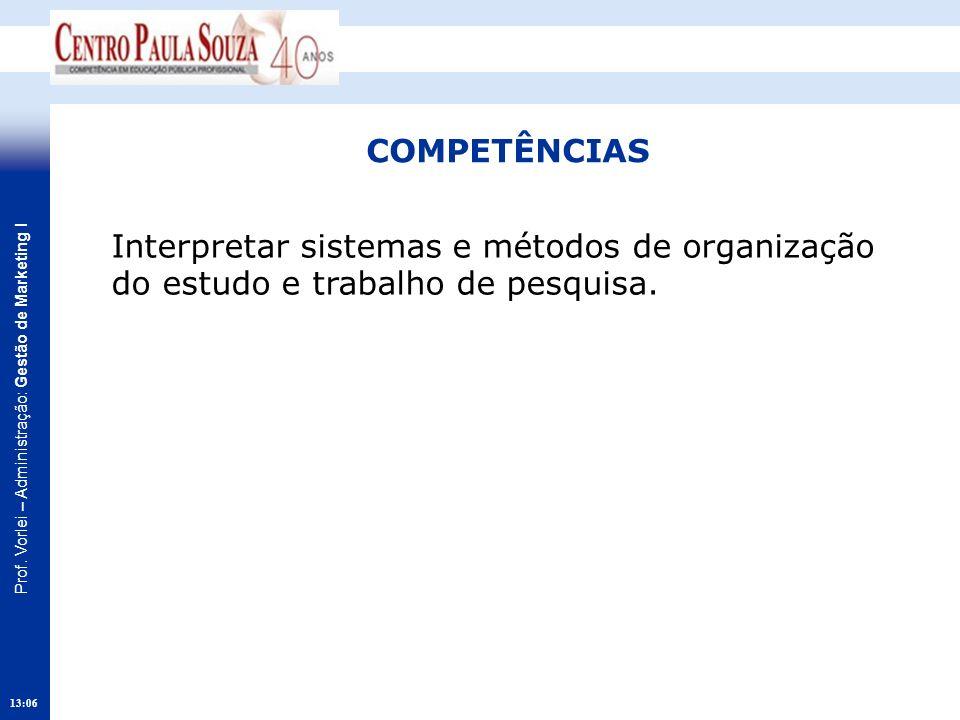 Prof. Vorlei – Administração: Gestão de Marketing I 13:08 COMPETÊNCIAS Interpretar sistemas e métodos de organização do estudo e trabalho de pesquisa.