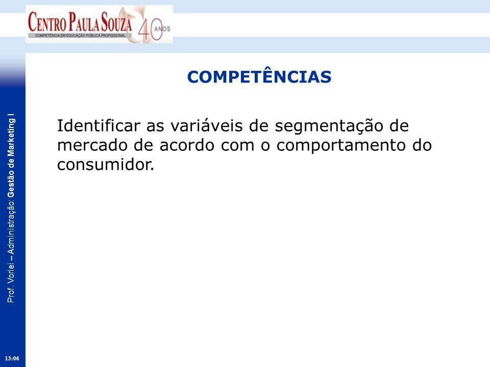 Prof. Vorlei – Administração: Gestão de Marketing I 13:08 COMPETÊNCIAS Identificar as variáveis de segmentação de mercado de acordo com o comportament