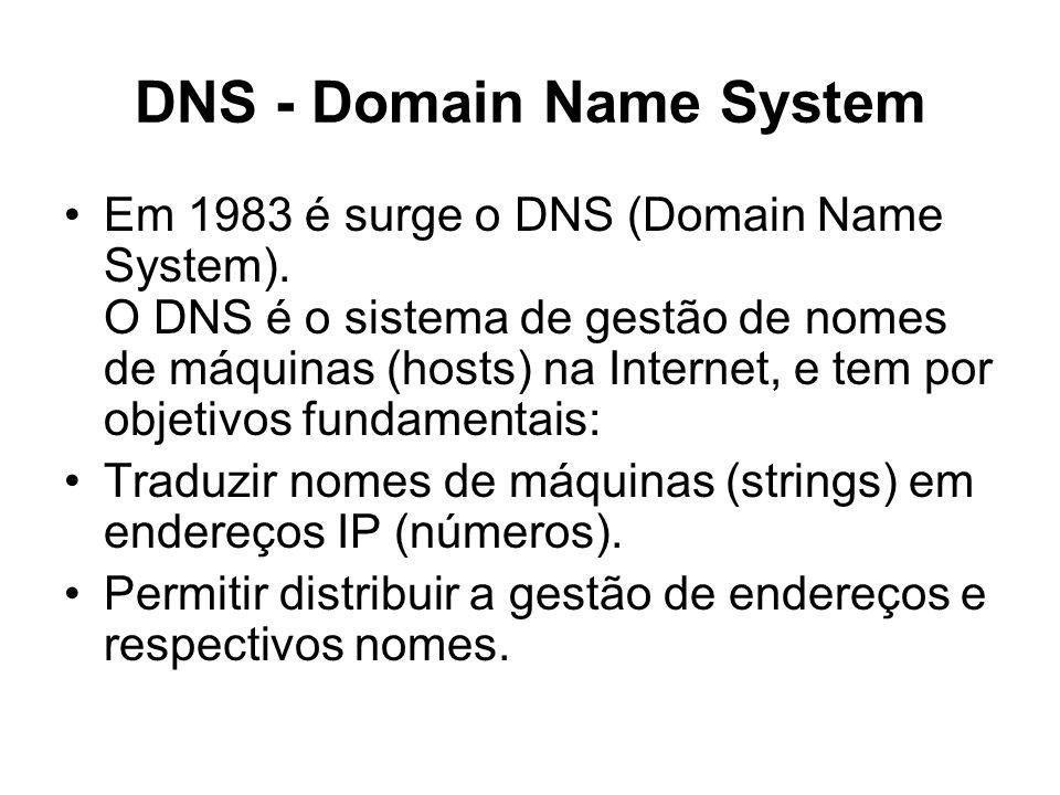 DNS - Domain Name System Em 1983 é surge o DNS (Domain Name System). O DNS é o sistema de gestão de nomes de máquinas (hosts) na Internet, e tem por o