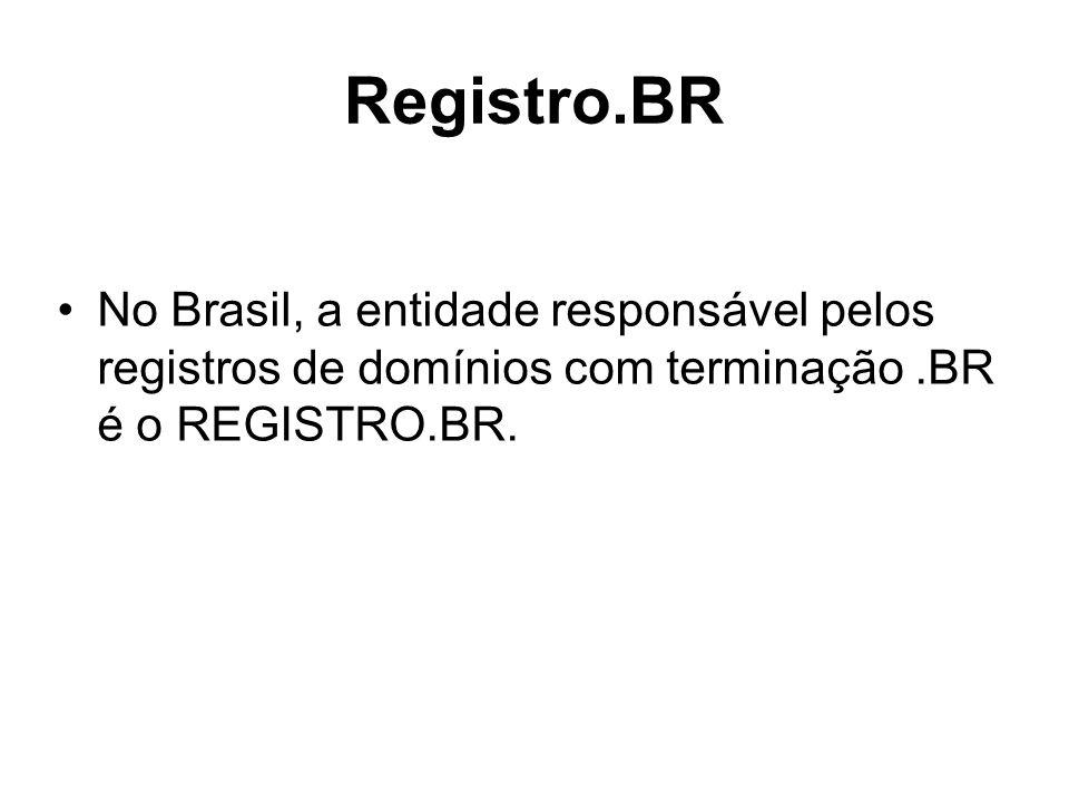 Registro.BR No Brasil, a entidade responsável pelos registros de domínios com terminação.BR é o REGISTRO.BR.