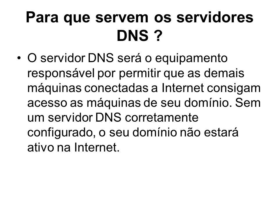 Para que servem os servidores DNS ? O servidor DNS será o equipamento responsável por permitir que as demais máquinas conectadas a Internet consigam a