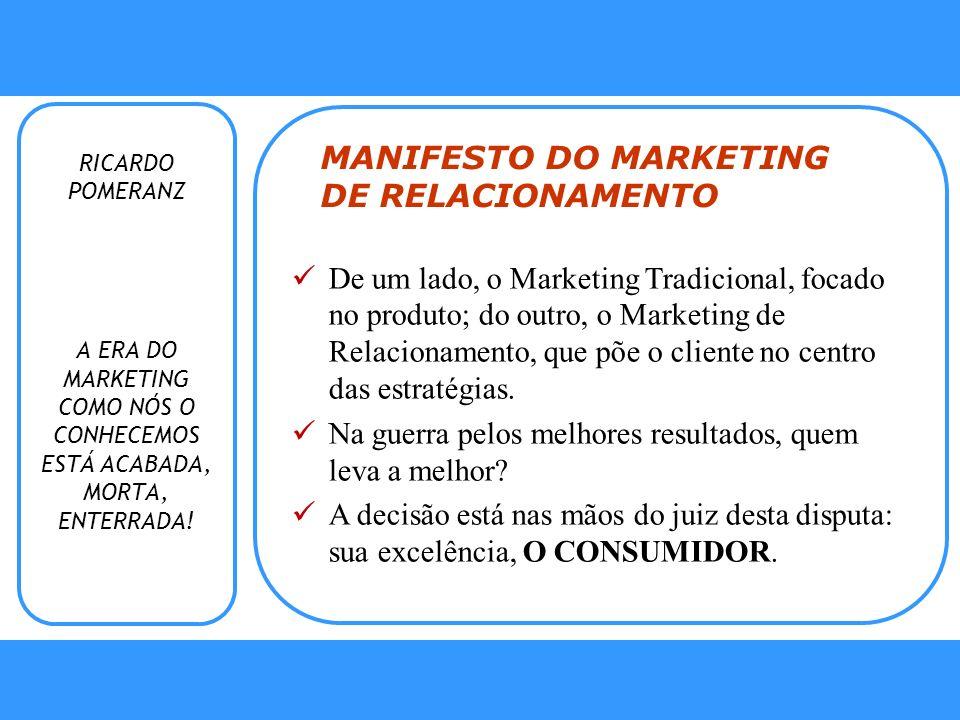 Fidelização Fidelização Programas de Relacionamento RICARDO POMERANZ MANIFESTO DO MARKETING DE RELACIONAMENTO De um lado, o Marketing Tradicional, foc