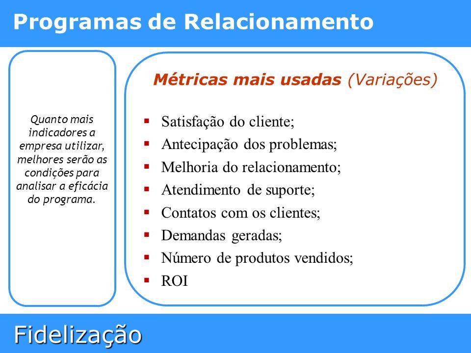 Fidelização Fidelização Programas de Relacionamento Quanto mais indicadores a empresa utilizar, melhores serão as condições para analisar a eficácia d