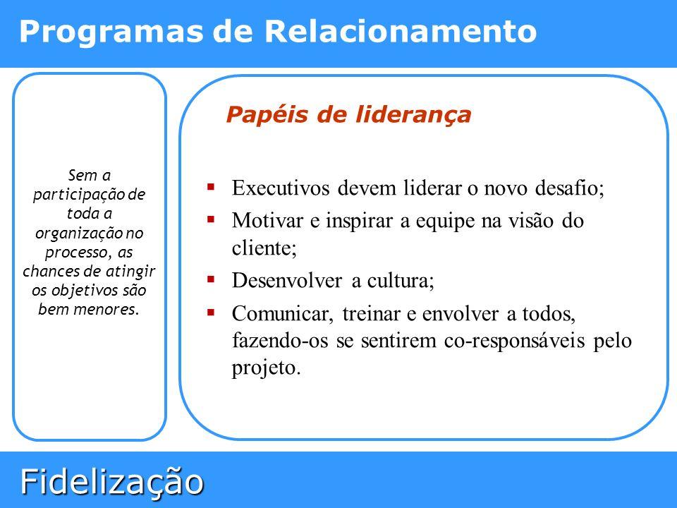 Fidelização Fidelização Programas de Relacionamento Sem a participação de toda a organização no processo, as chances de atingir os objetivos são bem m