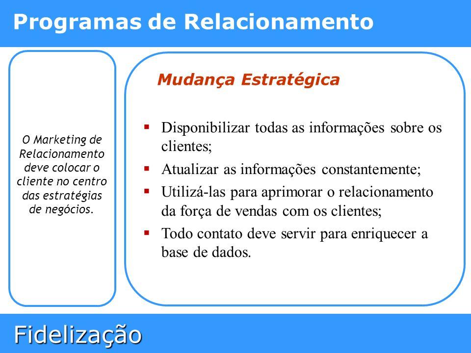 Fidelização Fidelização Programas de Relacionamento O Marketing de Relacionamento deve colocar o cliente no centro das estratégias de negócios. Mudanç
