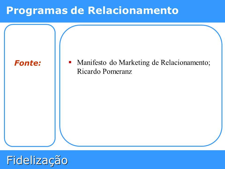 Fidelização Fidelização Programas de Relacionamento Fonte: Manifesto do Marketing de Relacionamento; Ricardo Pomeranz