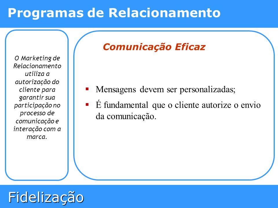 Fidelização Fidelização Programas de Relacionamento O Marketing de Relacionamento utiliza a autorização do cliente para garantir sua participação no p