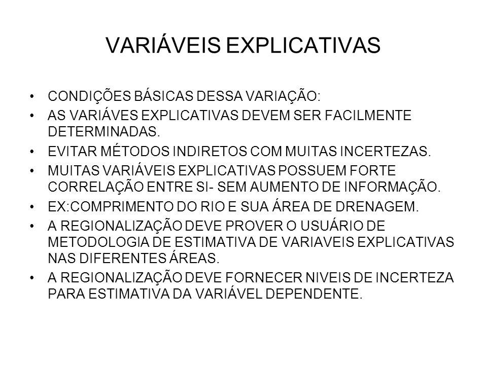 VARIÁVEIS EXPLICATIVAS CONDIÇÕES BÁSICAS DESSA VARIAÇÃO: AS VARIÁVES EXPLICATIVAS DEVEM SER FACILMENTE DETERMINADAS. EVITAR MÉTODOS INDIRETOS COM MUIT