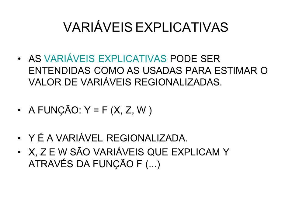 VARIÁVEIS EXPLICATIVAS AS VARIÁVEIS EXPLICATIVAS PODE SER ENTENDIDAS COMO AS USADAS PARA ESTIMAR O VALOR DE VARIÁVEIS REGIONALIZADAS. A FUNÇÃO: Y = F