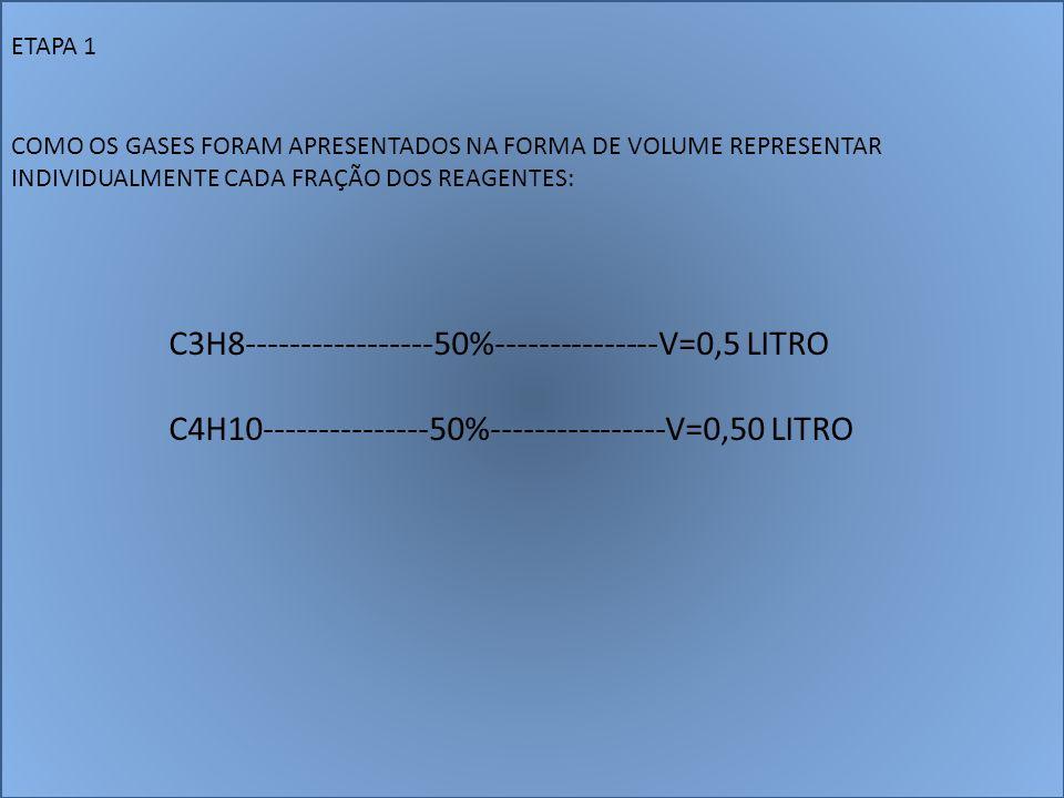 ETAPA 1 COMO OS GASES FORAM APRESENTADOS NA FORMA DE VOLUME REPRESENTAR INDIVIDUALMENTE CADA FRAÇÃO DOS REAGENTES: C3H8-----------------50%-----------