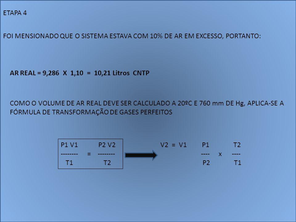 ETAPA 4 FOI MENSIONADO QUE O SISTEMA ESTAVA COM 10% DE AR EM EXCESSO, PORTANTO: AR REAL = 9,286 X 1,10 = 10,21 Litros CNTP COMO O VOLUME DE AR REAL DE