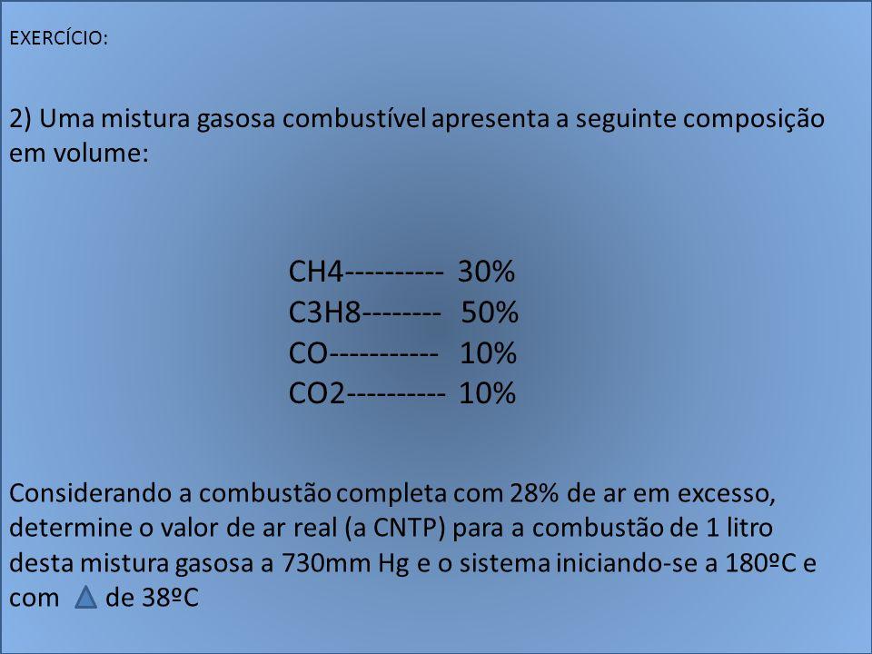 CH4---------- 30% C3H8-------- 50% CO----------- 10% CO2---------- 10% EXERCÍCIO: 2) Uma mistura gasosa combustível apresenta a seguinte composição em