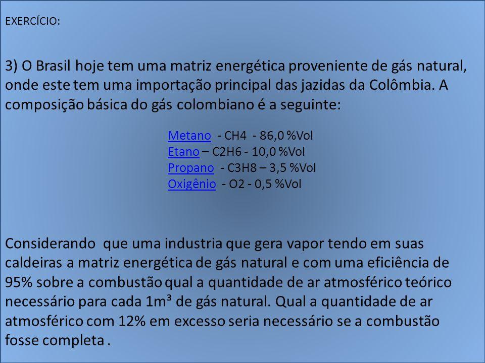 EXERCÍCIO: 3) O Brasil hoje tem uma matriz energética proveniente de gás natural, onde este tem uma importação principal das jazidas da Colômbia. A co