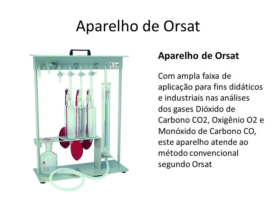 Aparelho de Orsat Aparelho de Orsat Com ampla faixa de aplicação para fins didáticos e industriais nas análises dos gases Dióxido de Carbono CO2, Oxig