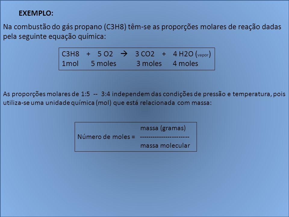 EXEMPLO: Na combustão do gás propano (C3H8) têm-se as proporções molares de reação dadas pela seguinte equação química: C3H8 + 5 O2 3 CO2 + 4 H2O ( va