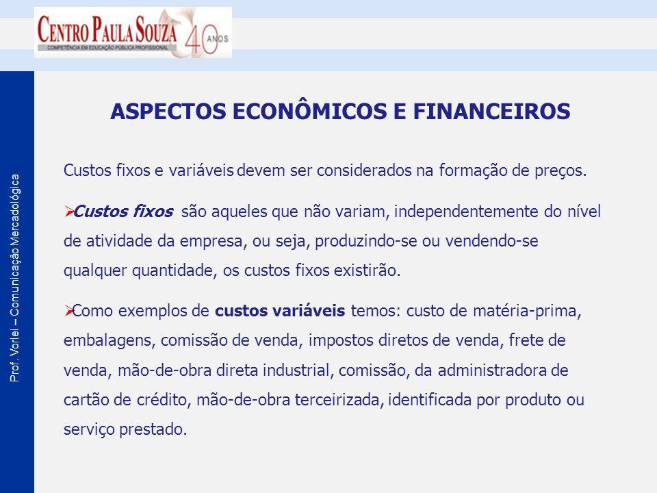 Prof. Vorlei – Comunicação Mercadológica ASPECTOS ECONÔMICOS E FINANCEIROS Custos fixos e variáveis devem ser considerados na formação de preços. Cust