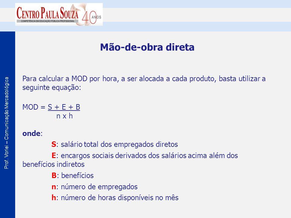 Prof. Vorlei – Comunicação Mercadológica Mão-de-obra direta Para calcular a MOD por hora, a ser alocada a cada produto, basta utilizar a seguinte equa
